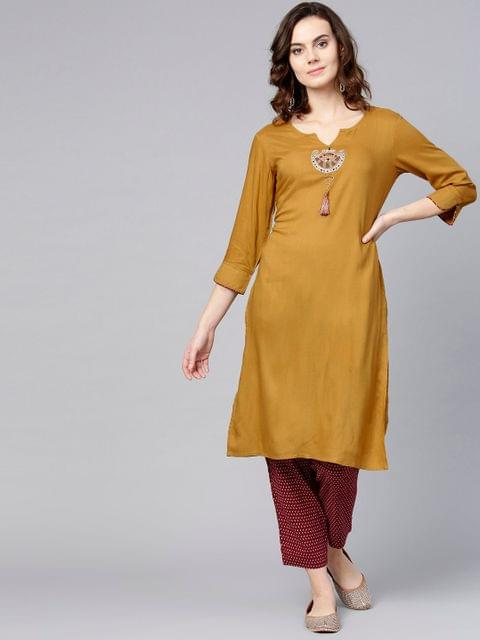Women Mustard Brown & Maroon Solid Kurta with Trousers