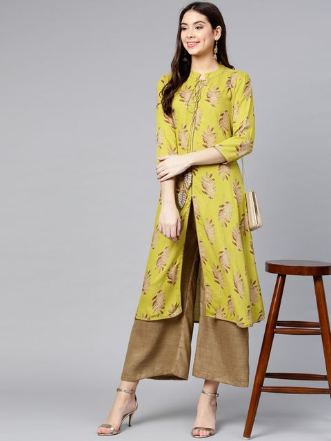 Women Lime Green & Brown Printed Kurta with Palazzos