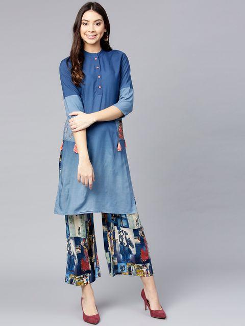 Women Blue Solid Kurta with Palazzos