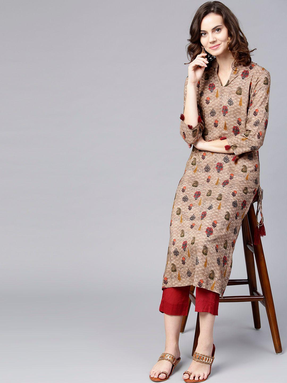 Women Brown & Maroon Printed Kurta with Trousers