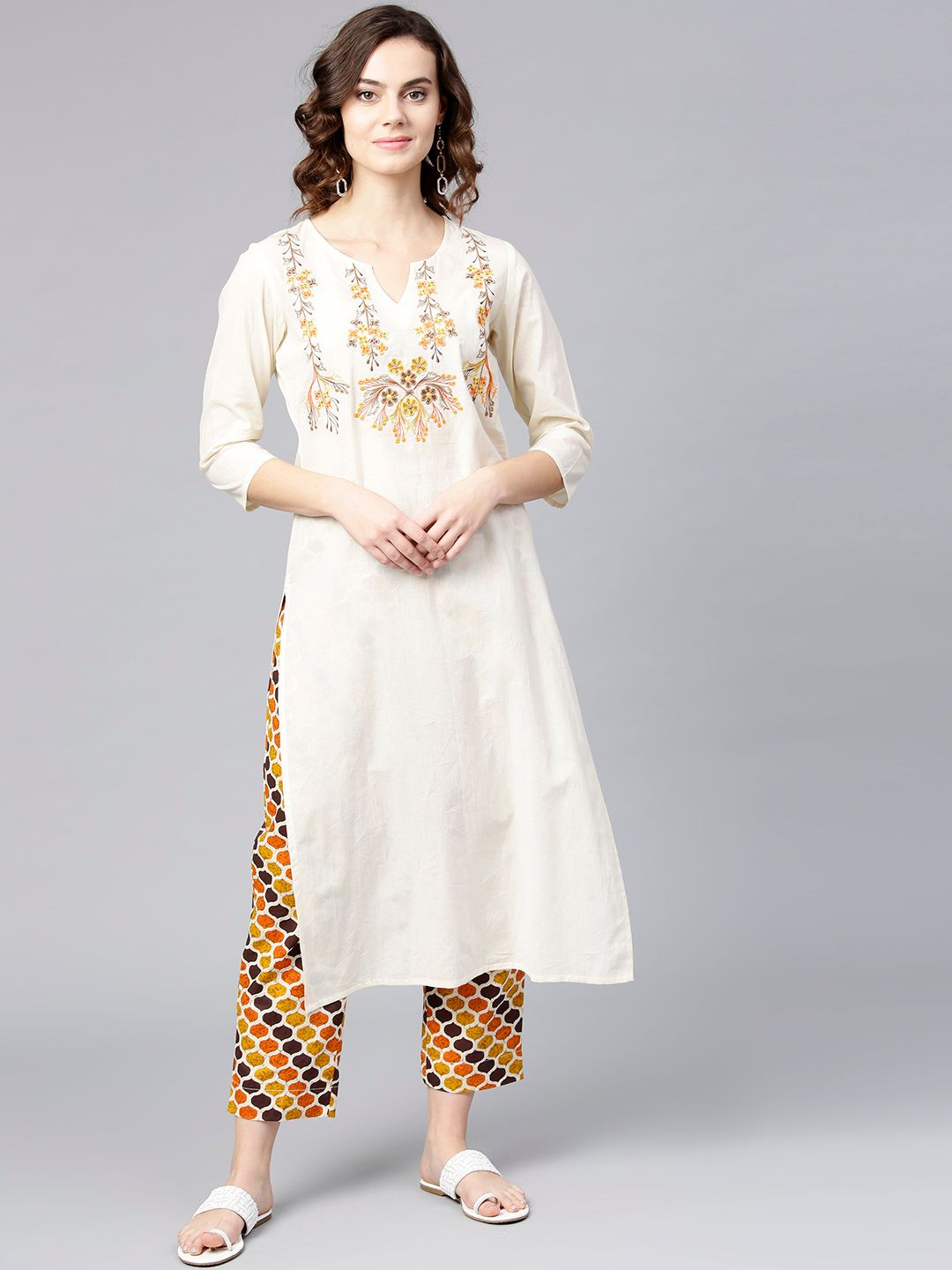 Women Off-White & Orange Yoke Design Kurta with Trousers