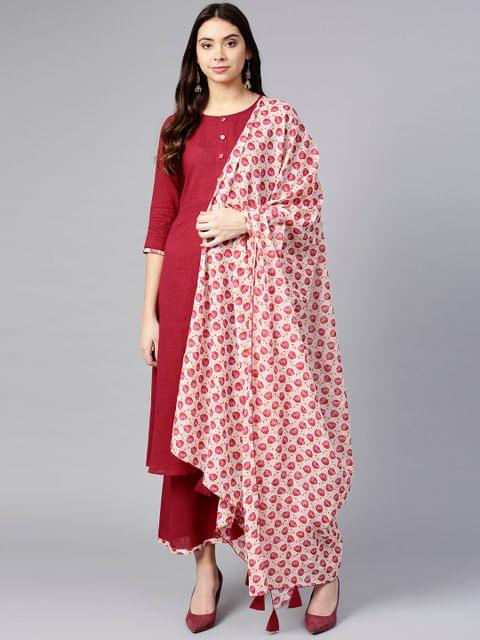 Women Maroon & White Solid Kurta with Palazzos & Dupatta