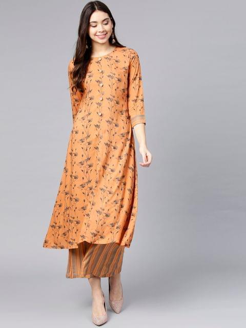 Women Orange & Grey Printed Kurta with Palazzos