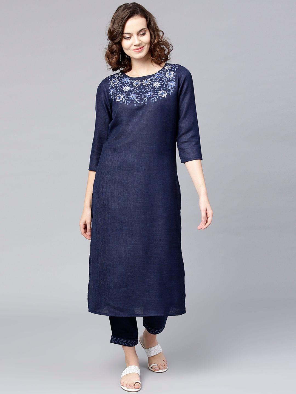 Women Navy Blue Yoke Design Kurta with Trousers