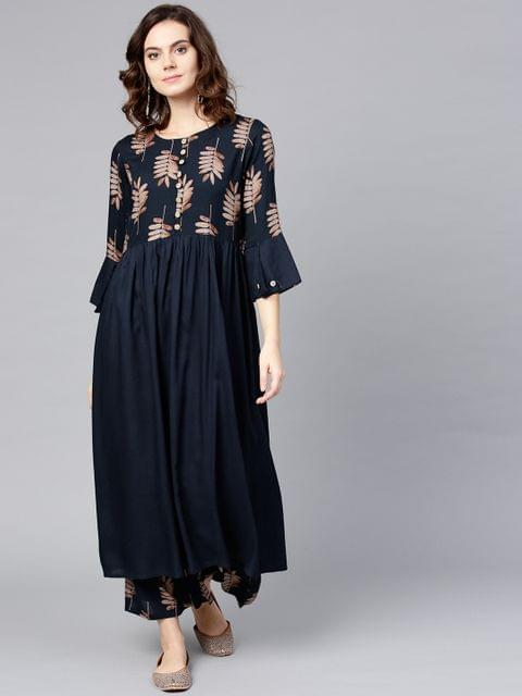 Women Navy Blue Printed Kurta with Palazzos
