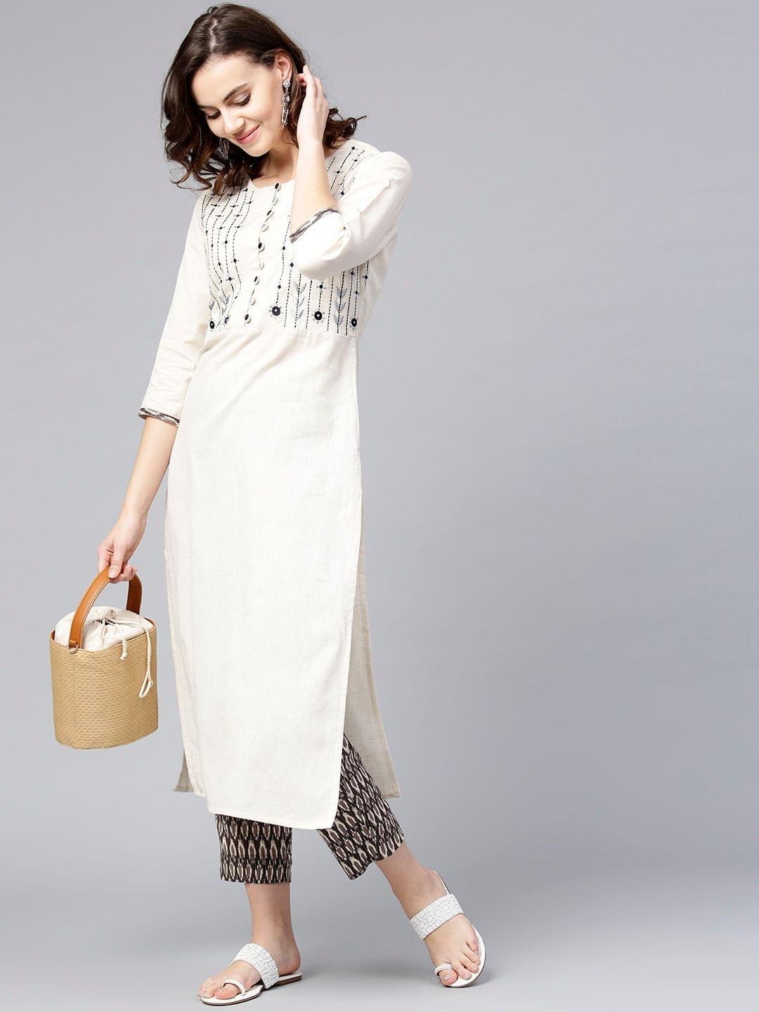 Women Off-White & Taupe Yoke Design Kurta with Trousers