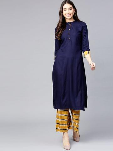 Women Navy Blue & Mustard Yellow Solid Kurta with Palazzos