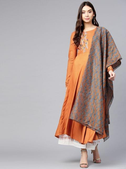 Women Rust Orange Yoke Design A-Line Kurta with Dupatta