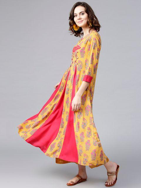 Women Mustard Yellow & Pink Printed A-Line Kurta