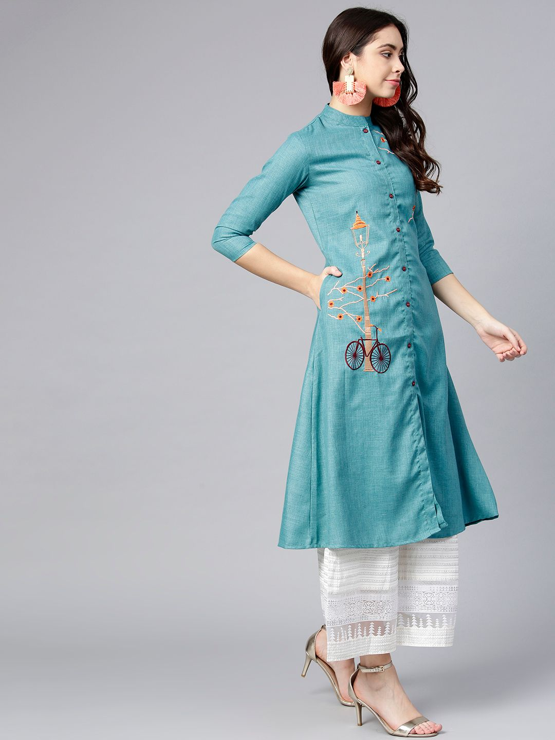 Women Turquoise Blue Embroidered A-Line Kurta