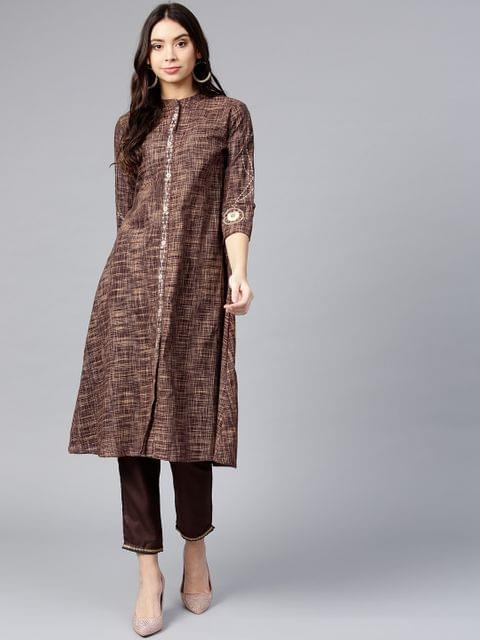 Women Brown Woven Design A-Line Kurta