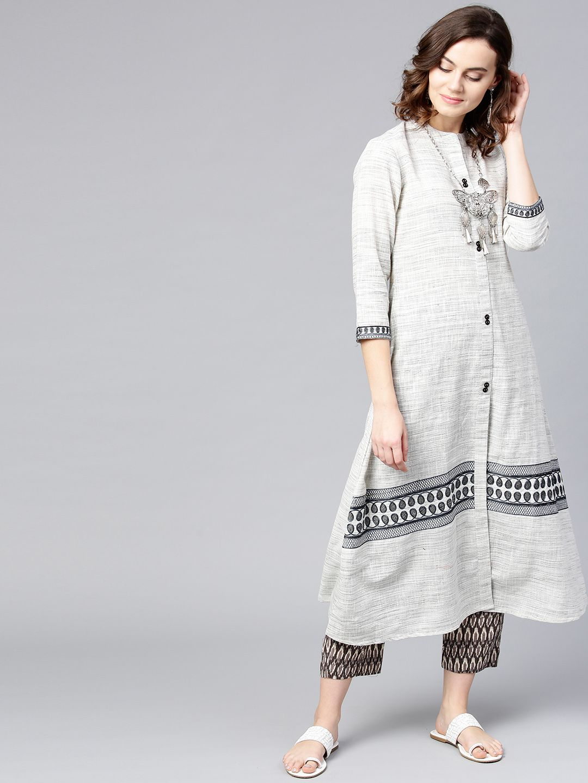 Women Off-White & Grey Woven Design A-Line Kurta