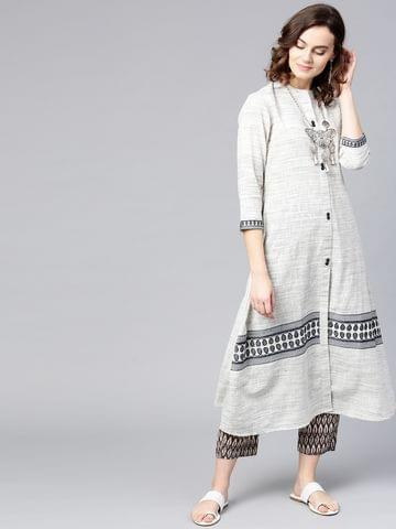 Women Off-White & Grey Woven Design A-Line Kurta