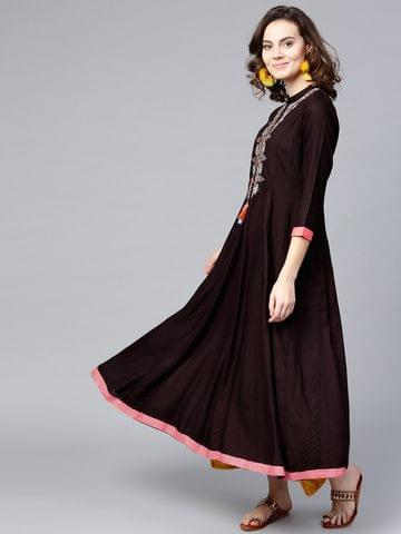 Women Coffee Brown Yoke Design A-Line Kurta