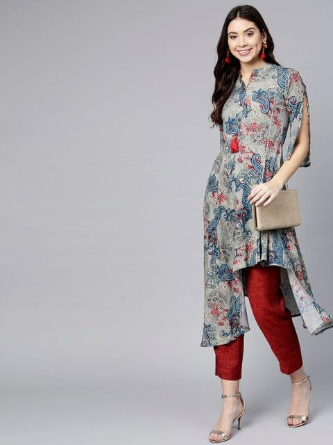 Women Grey & Blue Printed A-Line Kurta