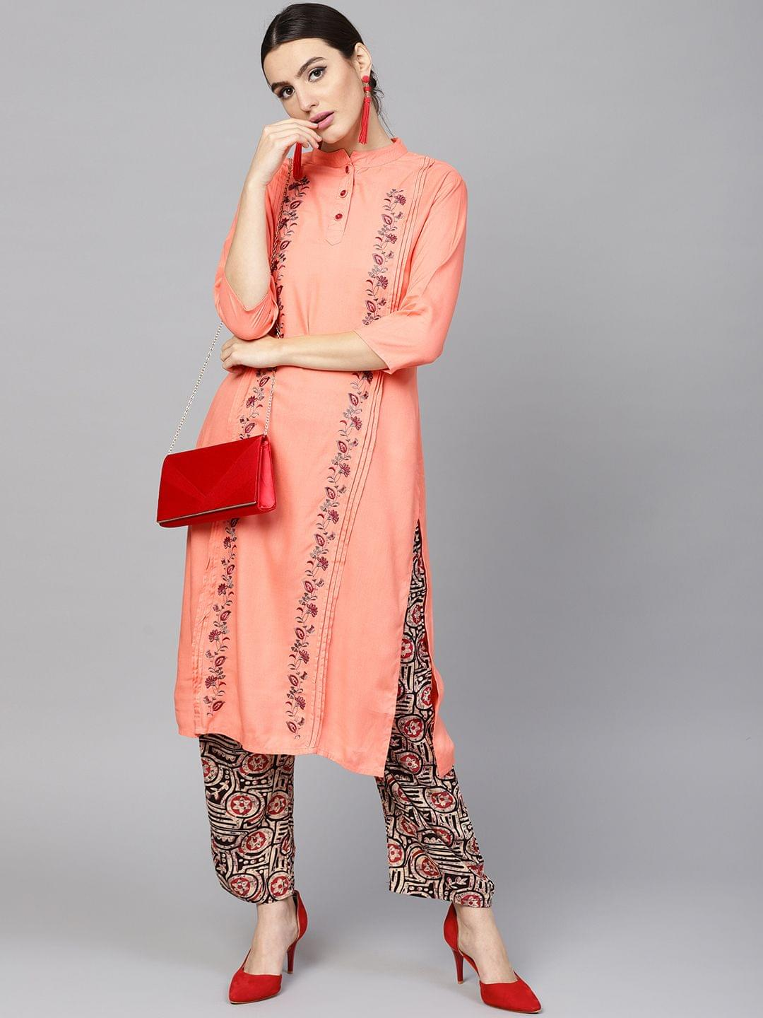 Women Peach-Coloured & Beige Embroidered Kurta with Palazzos