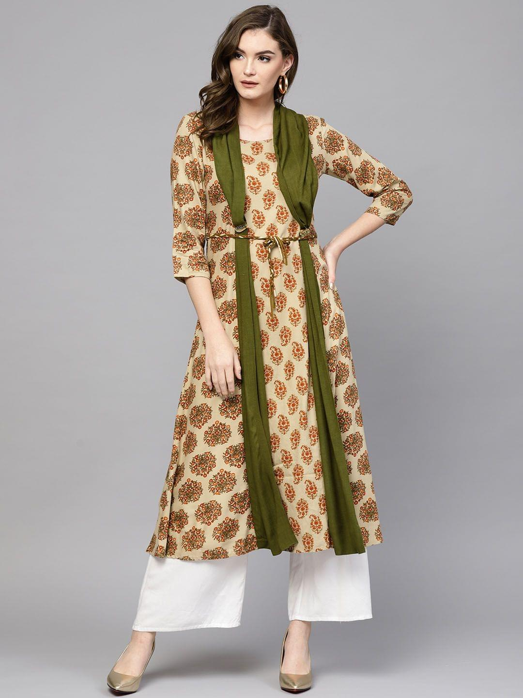 Women Beige & Olive Green Printed A-Line Kurta with Attached Draped Dupatta