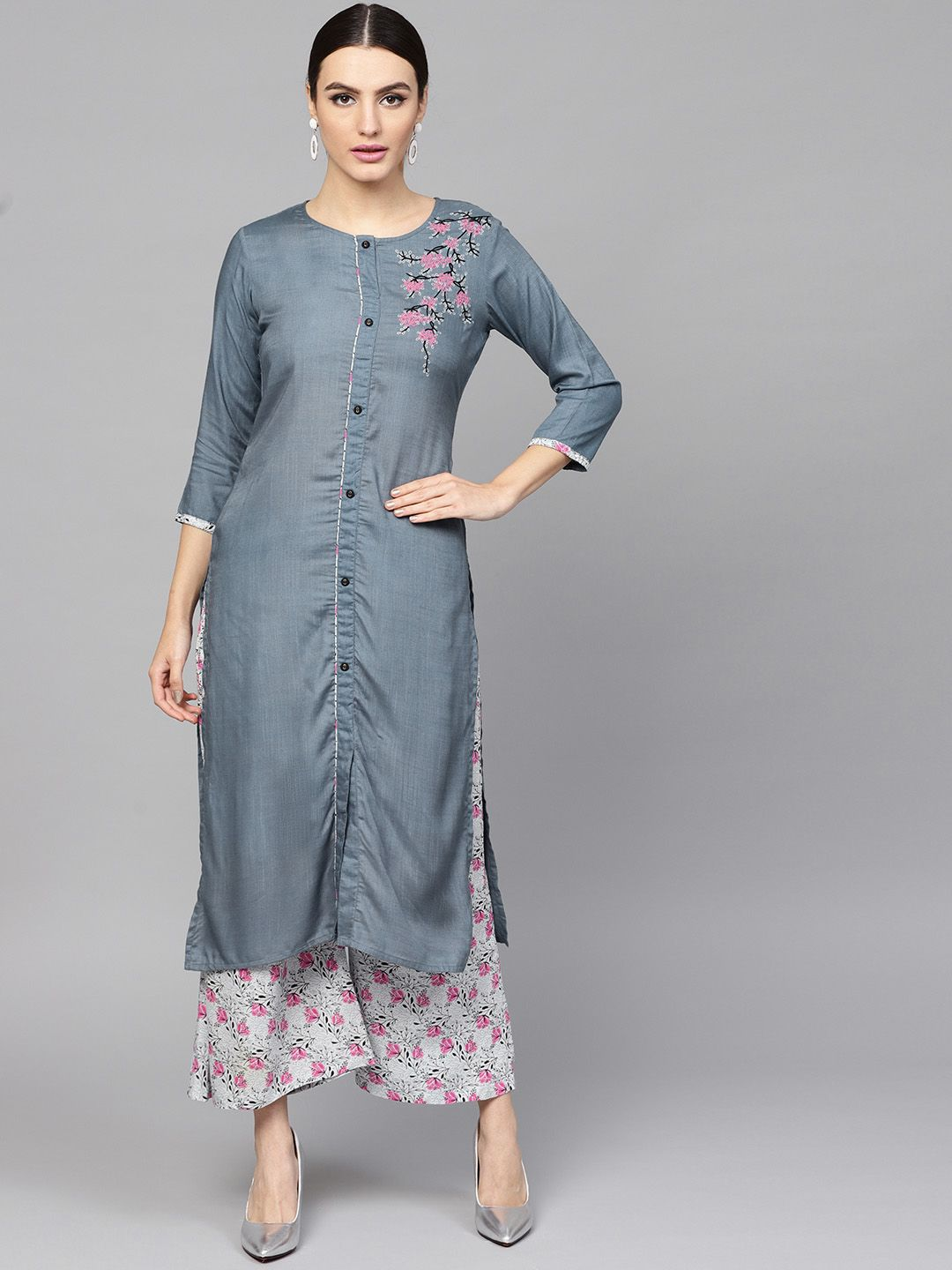 Women Grey & Pink Solid Kurta with Palazzos