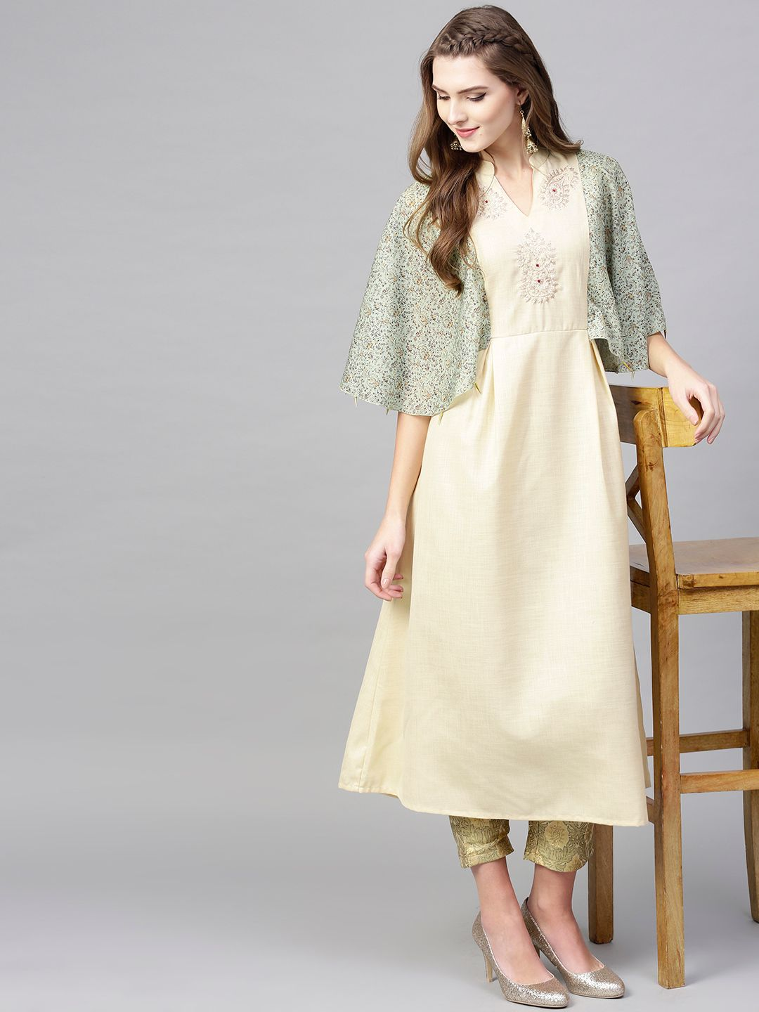 Women Beige & Green Yoke Design A-Line Kurta