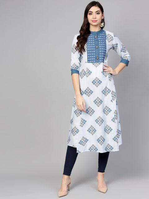 Women Blue Printed A-Line Kurta