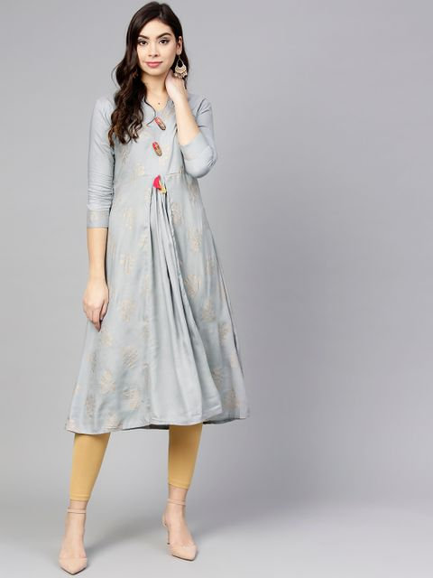 Women Grey & Golden Printed A-Line Kurta