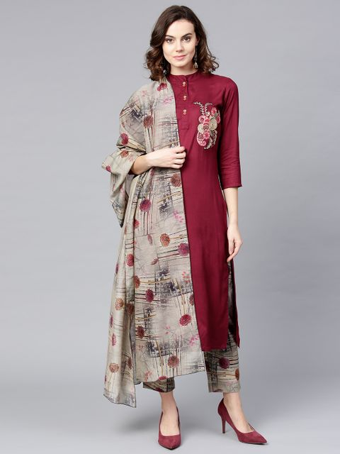 Women Burgundy & Grey Embroidered Kurta with Trousers & Dupatta