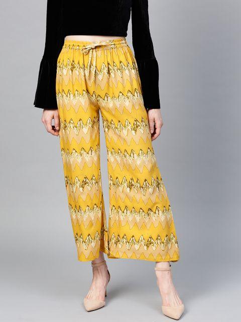 Women Mustard Yellow & Beige Wide Leg Printed Palazzos
