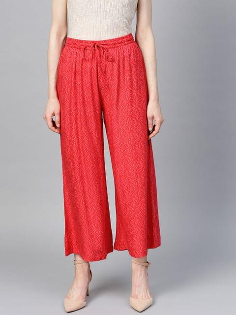 Women Red Wide Leg Printed Cropped Palazzos