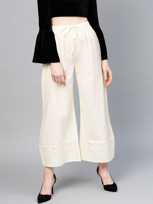 Women Off-White Hem Design Wide Leg Palazzos