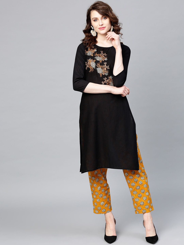 Women Black & Mustard Yellow Yoke Design Kurta with Trousers