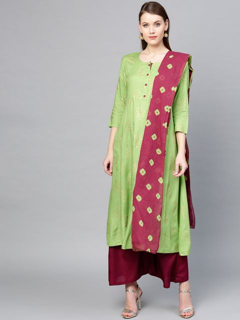 Women Green & Burgundy Printed Kurta with Palazzos & Dupatta