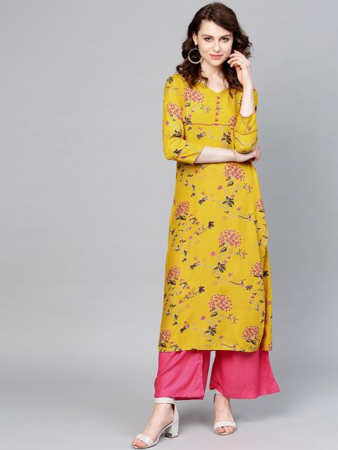 Women Mustard Yellow & Pink Printed Kurta with Palazzos