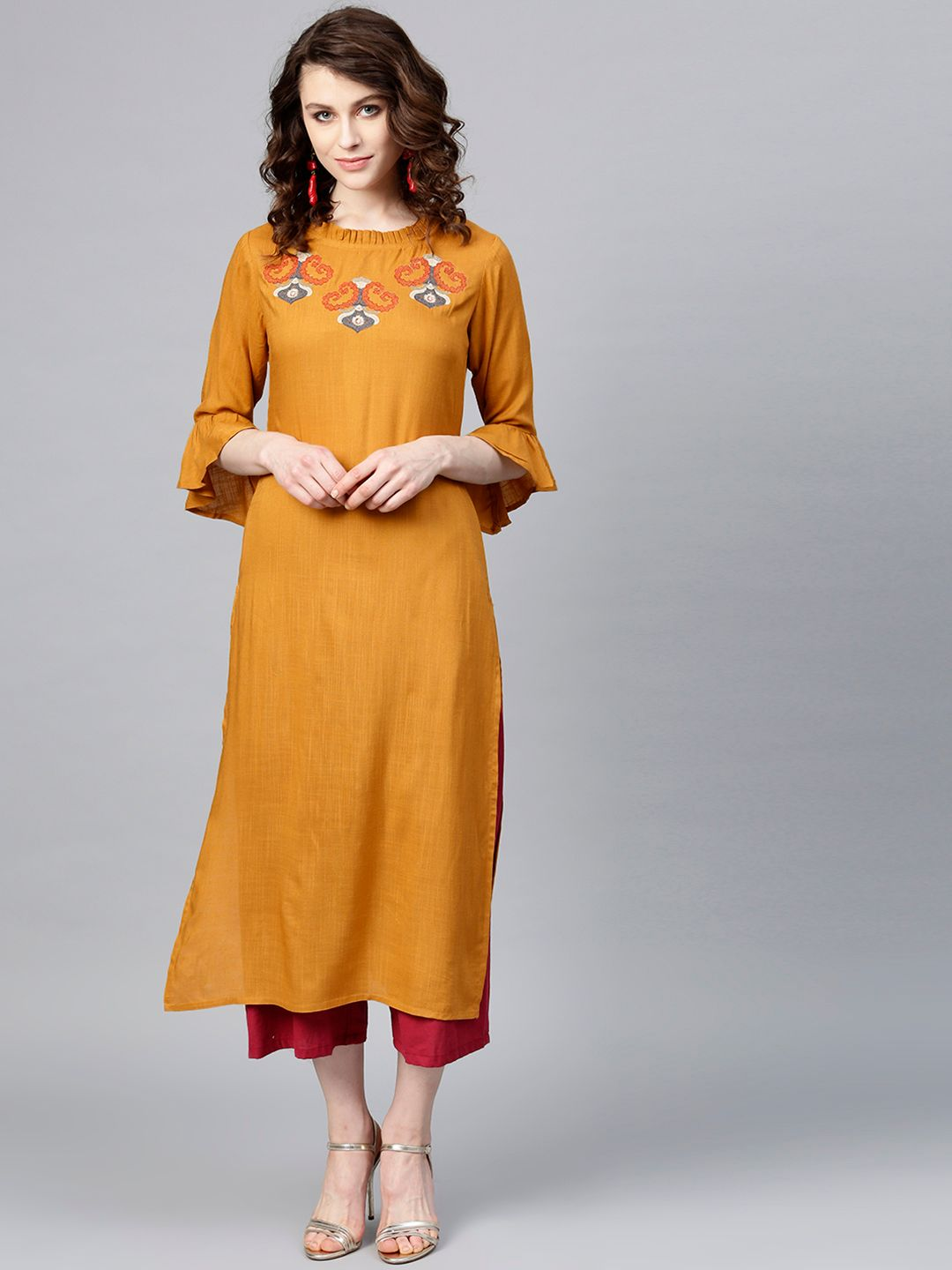 Women Mustard Brown Yoke Design Straight Kurta