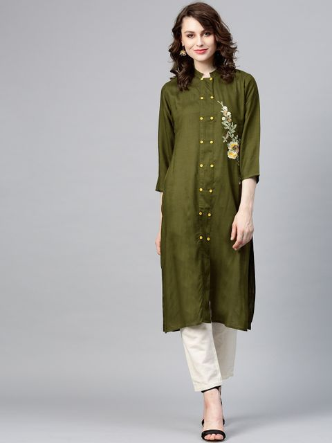 Women Olive Green Solid Straight Kurta with Embroidered Detail