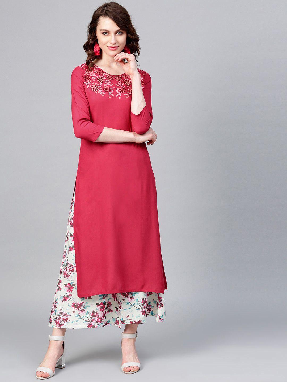 Women Pink & Sea Green Yoke Design Kurta with Palazzos