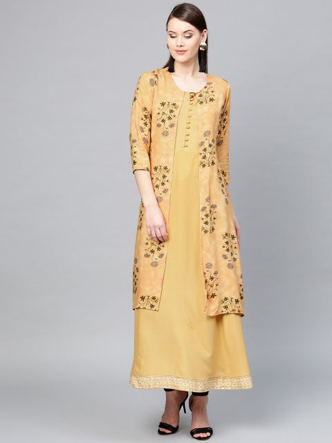 Women Yellow Printed Layered A-Line Kurta