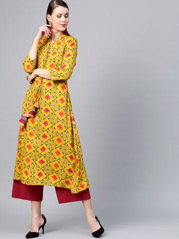 Women Mustard Yellow & Grey Printed A-Line Kurta