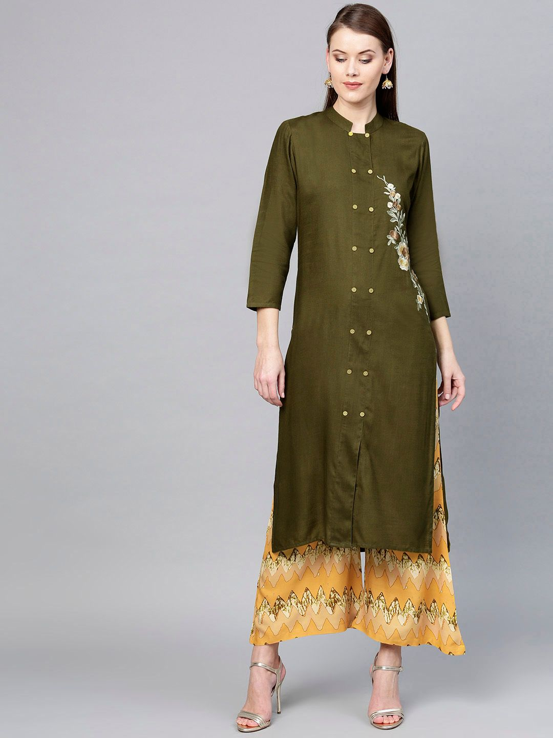 Women Olive Green & Mustard Yellow Solid Kurta with Palazzos