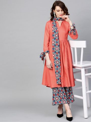Women Peach-Coloured & Blue Solid Kurta with Palazzos