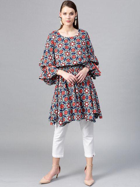 Multicoloured Printed Blouson Tunic
