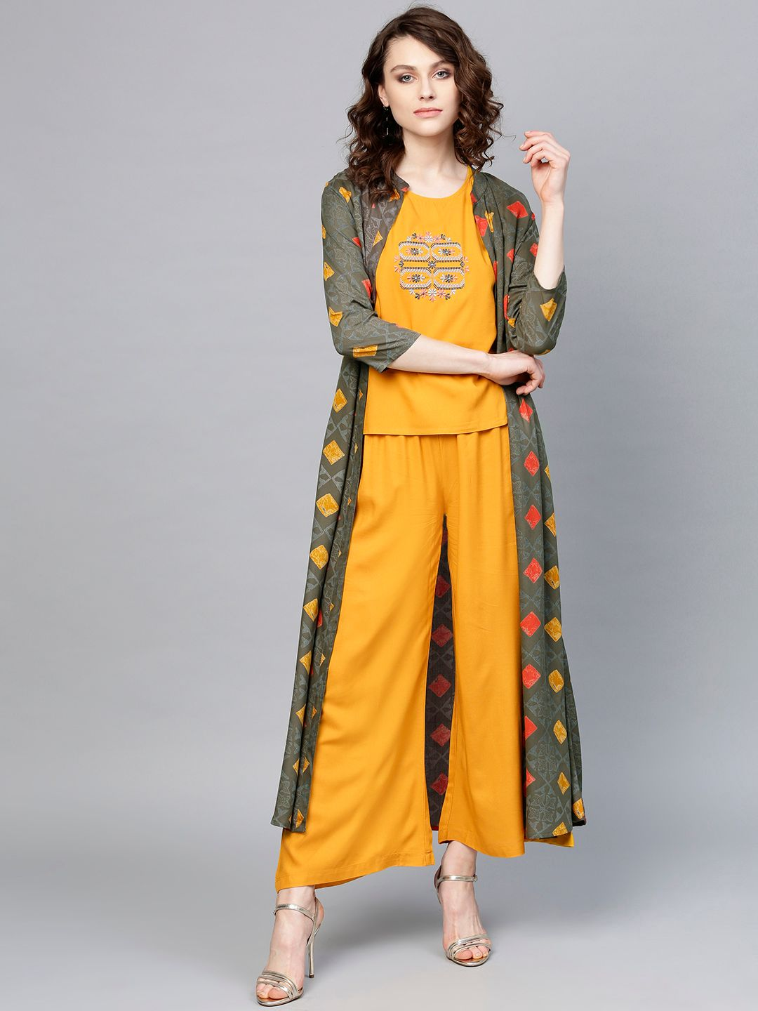 Women Mustard Yellow & Grey Solid Top with Palazzos & Shrug