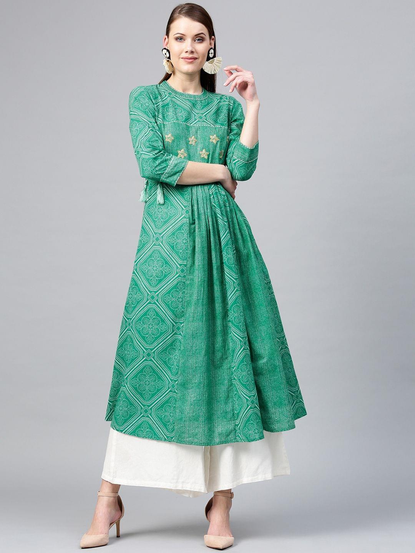 Women Green & White Bandhani Print A-Line Kurta