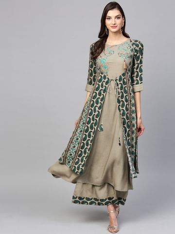 Yufta Women Grey & Teal Blue Printed Kurta with Palazzos