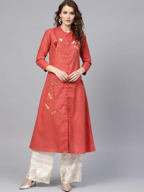 Yufta Women Rust Red Embroidered A-Line Kurta