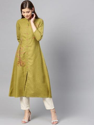 Yufta Women Olive Green Embroidered A-Line Kurta