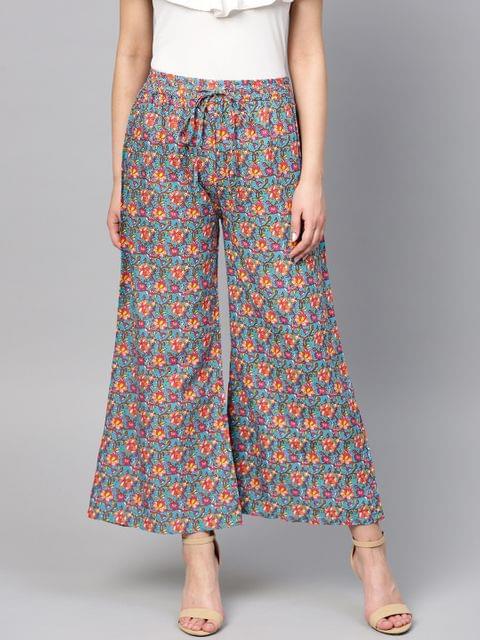 Yufta Women Blue & Pink Printed Wide Leg Palazzos