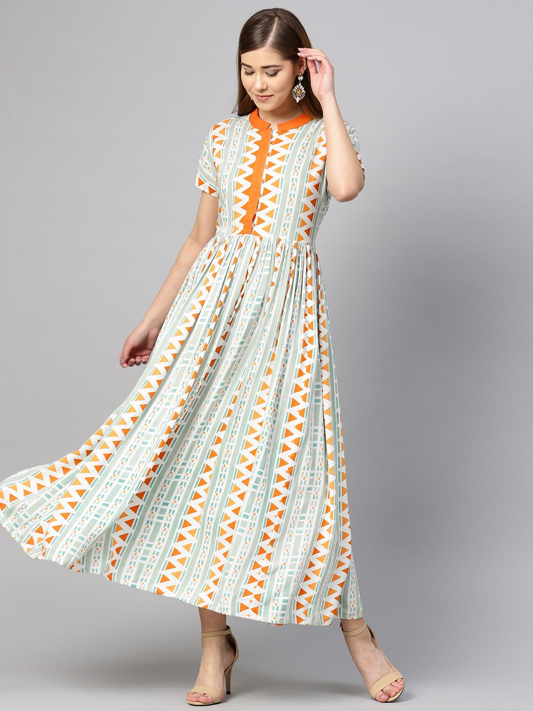 Yufta Women Green & Orange Printed Maxi Dress