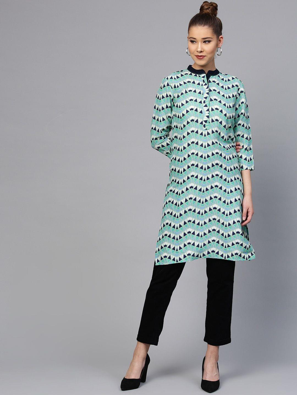 Yufta Women Green & Navy Blue Printed Straight Kurta