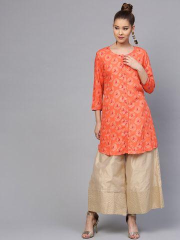 Yufta Women Orange & Gold-Toned Printed A-Line Kurta