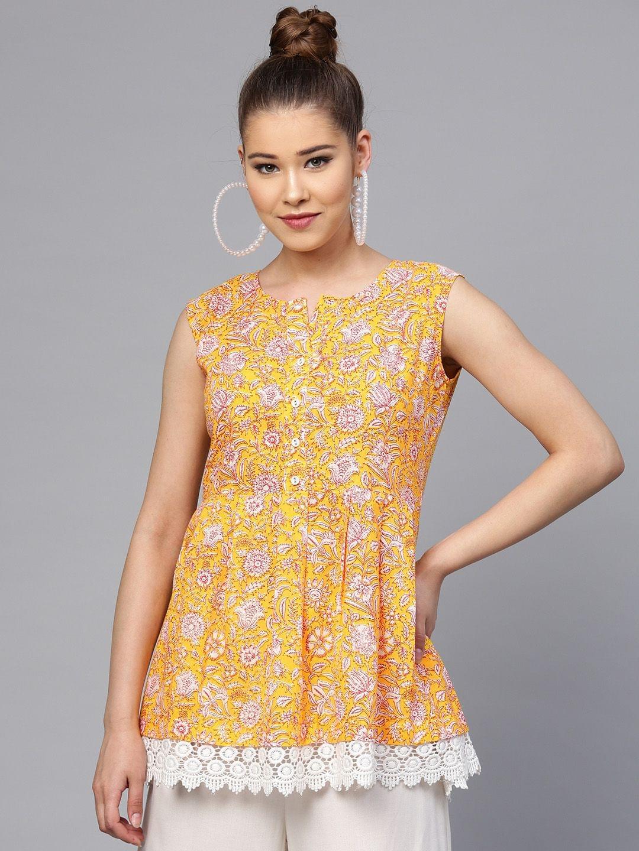 Yufta Yellow & Red Printed Tunic